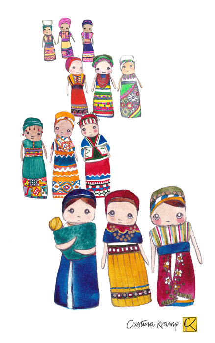 a collection of Worry Dolls inspired illustrations with typical dresses from South America