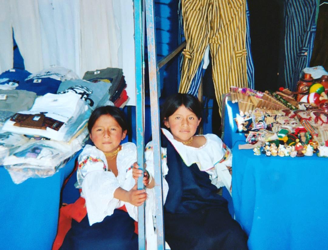 cute Otavalo girls at a craft fair