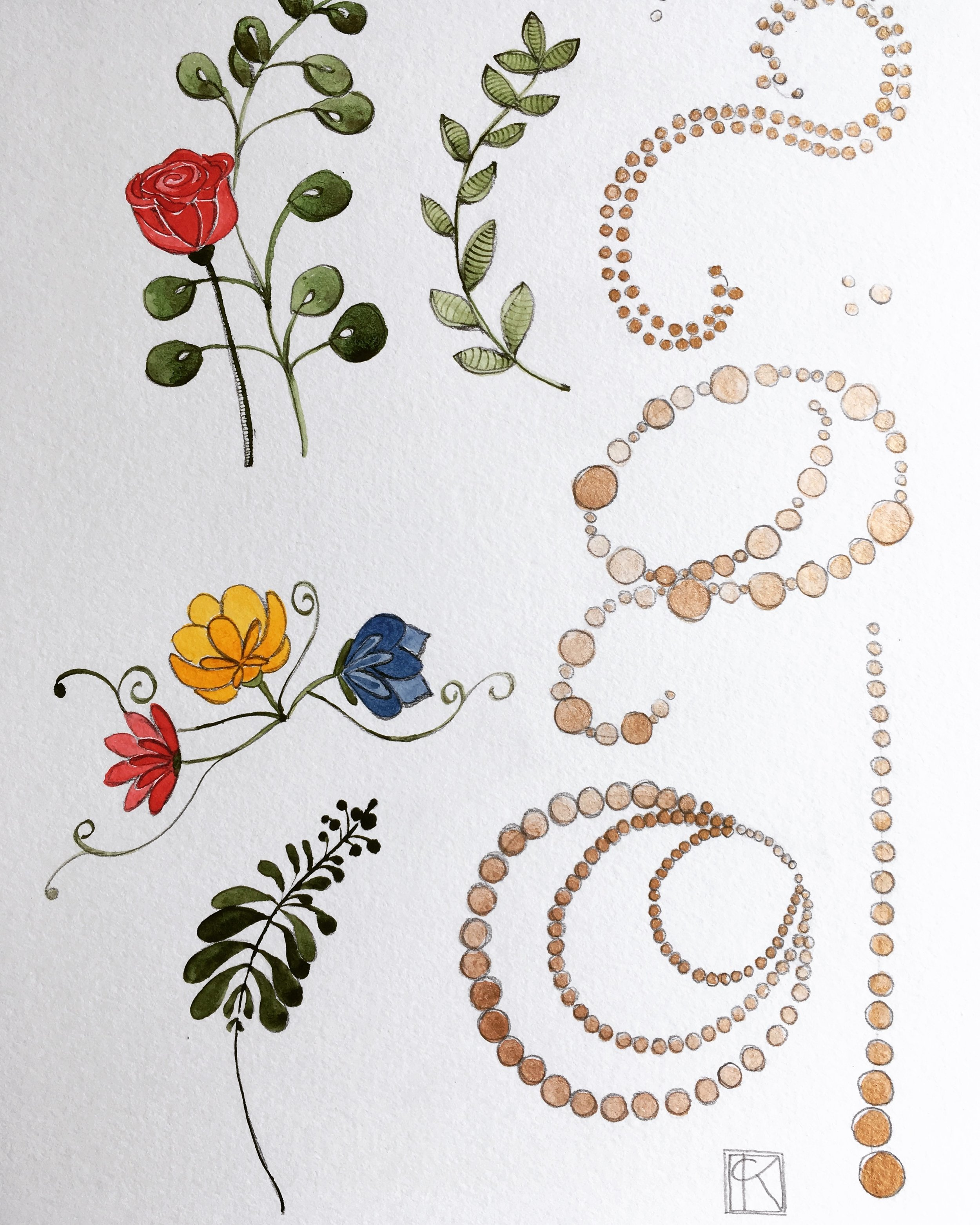 roses, flowers, and golden beads