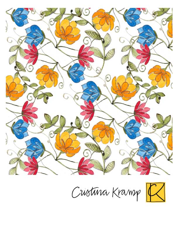 Yellow, blue, and red flowers