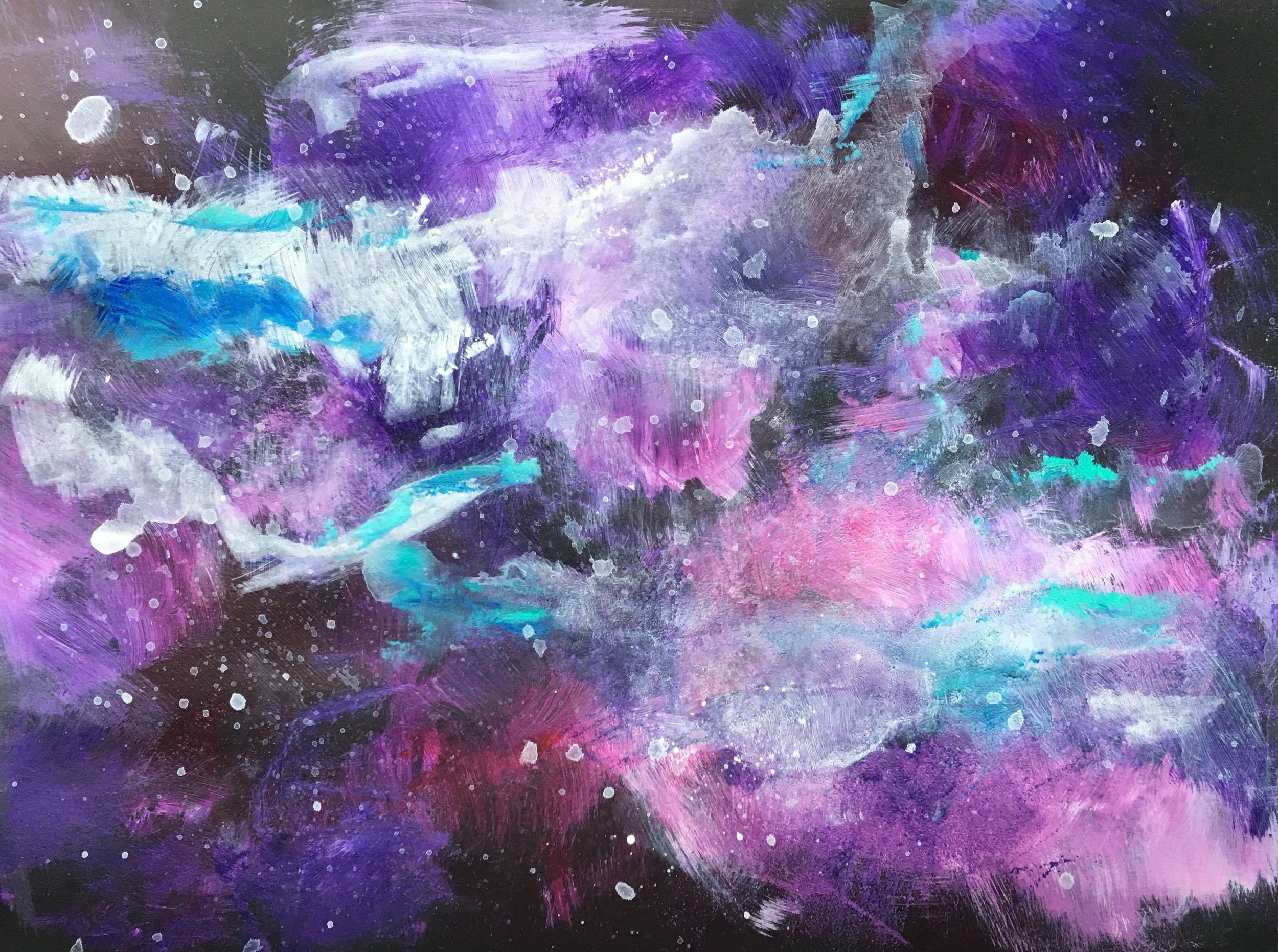 pink and purple nebula study