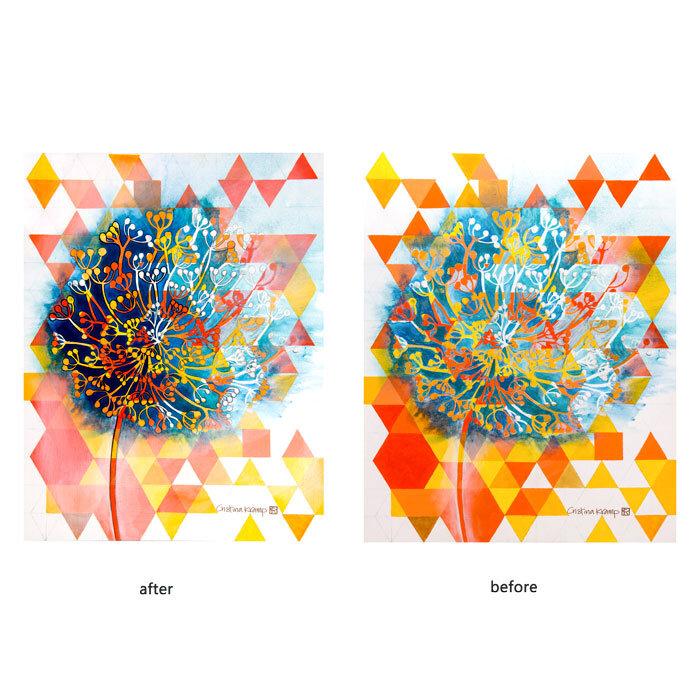 Fading Dandelion, 22x28in acrylic on canvas, $500