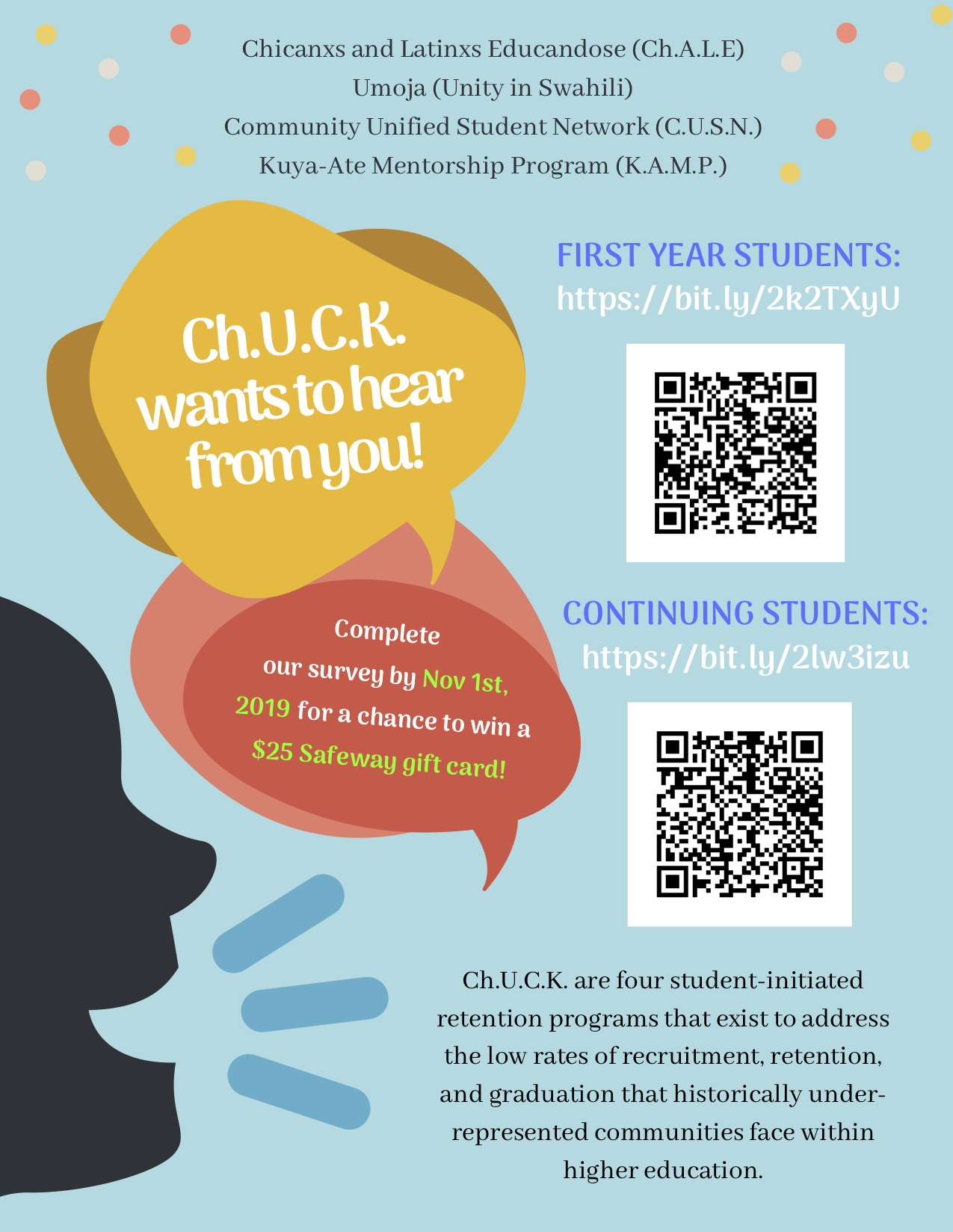 Fill out the Ch.U.C.K. survey! - Did you know that the six-year graduation rate for students of color range from 27 to 57 percent? Despite the increase of diversity in student population in higher education, universities continue to face difficulties in retaining underrepresented student populations. In order to combat low retention rates, Ch.U.C.K. has created a survey to create programming based on the needs of our communities. So, take the survey so that we can better understand how we can support you!Click here to go to the survey for first year students!Click here to go to the survey for continuing students!