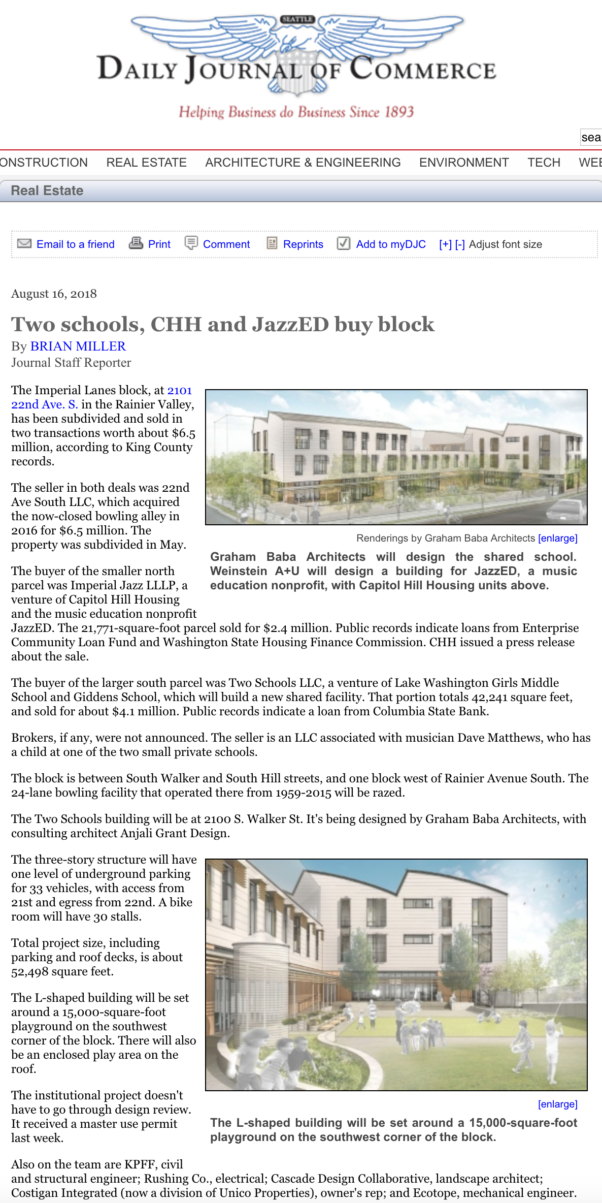 Two Schools, CHH, and JazzED Buy Block - By Brian Miller / August 16, 2018 / Daily Journal of Commerce