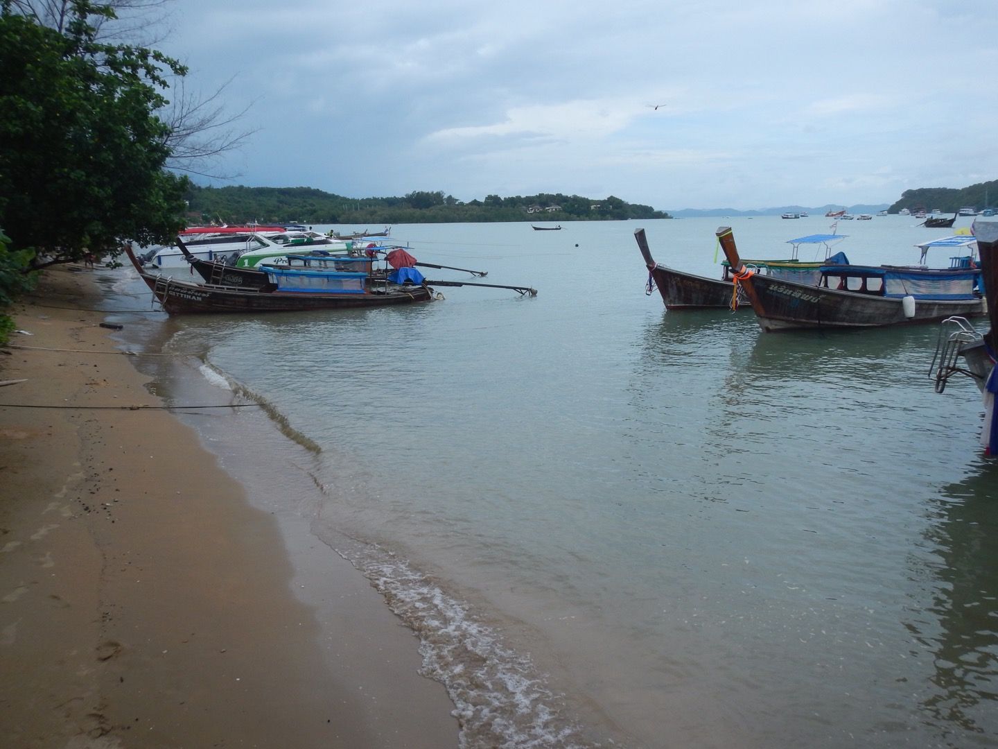 Boats docked at a beach in Thailand