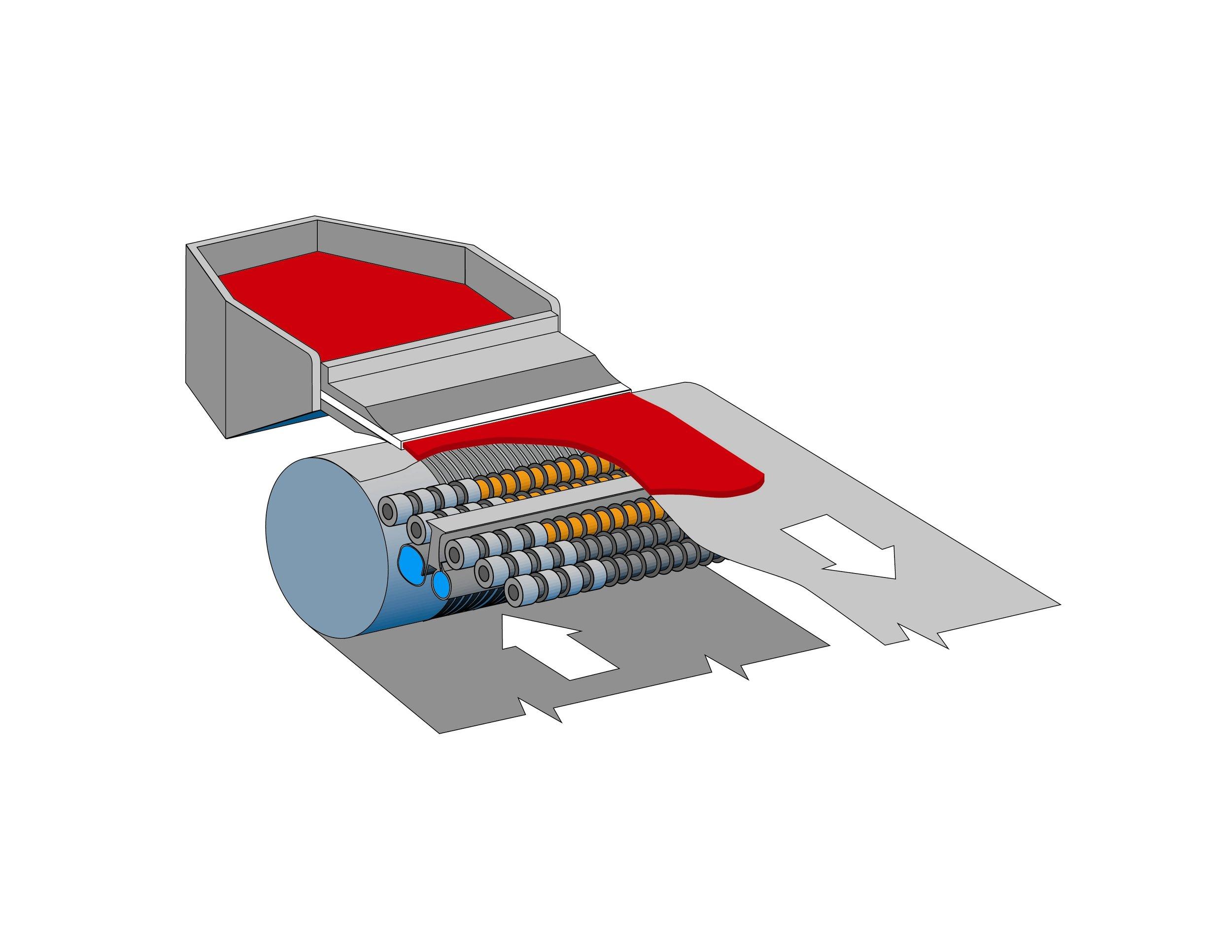 Bottom belt cut-away to show magnetic back-up rolls