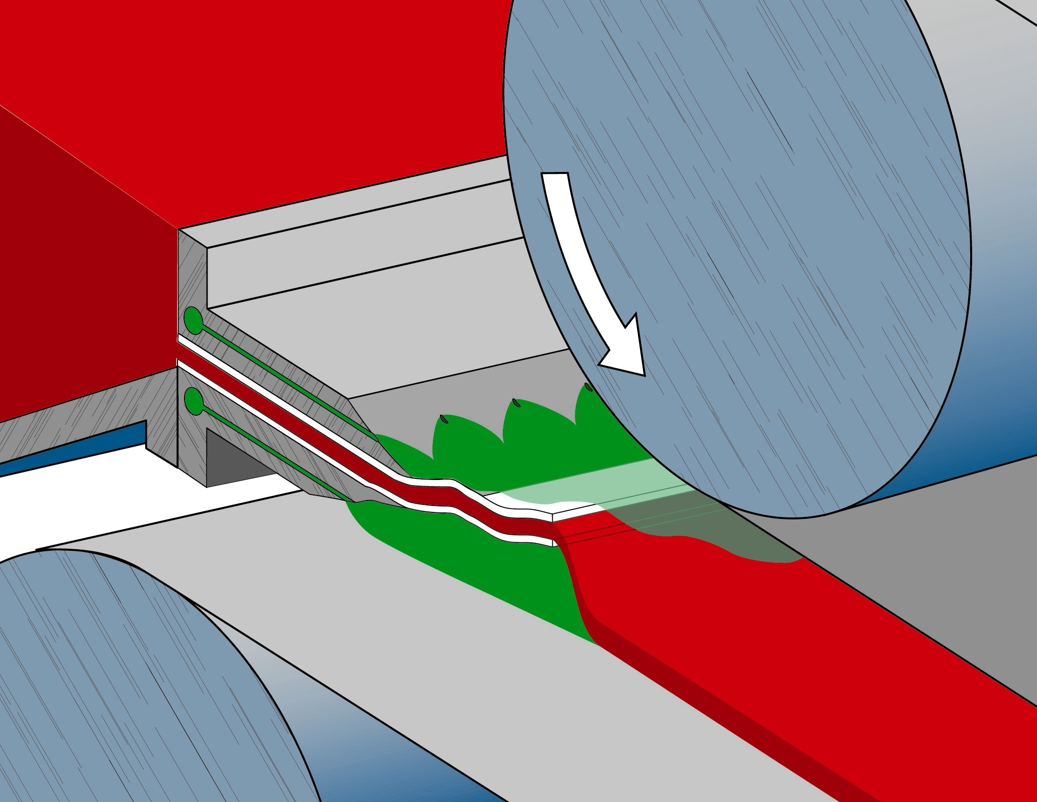 Inert gas ports shown above and below metal feeding tip