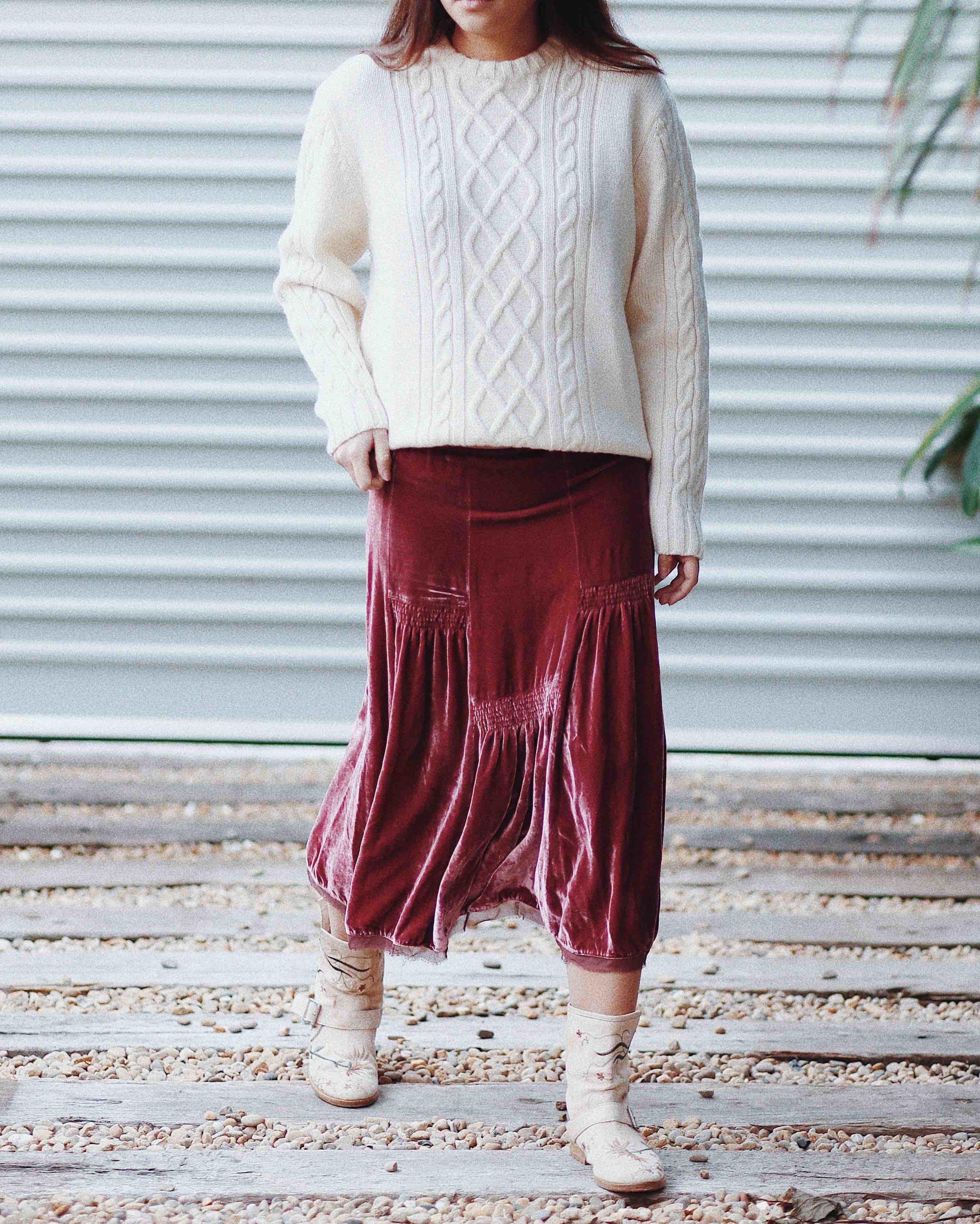 sydney designer vintage silk velvet skirt