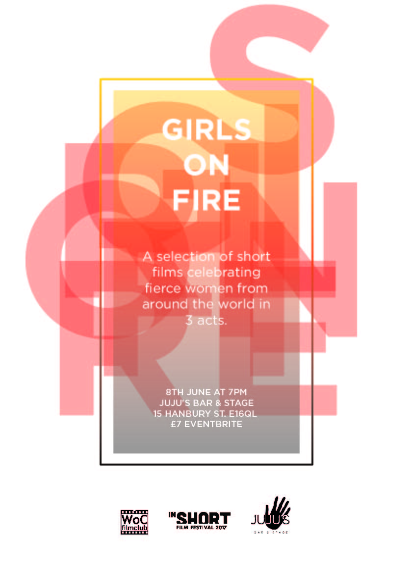 WOC Film Club and InShortFF - Girls on Fire Poster Design - 2017