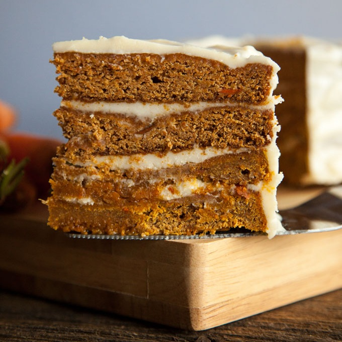 Rich Carrot Cake with Cream Cheese Frosting  - you won't even notice there's no eggs or dairy in this decadent vegan cake! Impress your guests with this fabulous recipe from  The Edgy Veg.