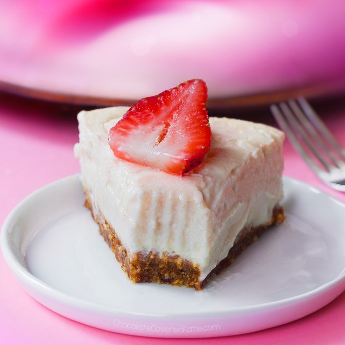 Cheesecake!  Perfect for Easter dinner or brunch. Decorate it with some fresh fruit or lovely coulis and you'll be the hit of the party. Grab this amazing recipe from  Chocolate Covered Katie  and get baking!