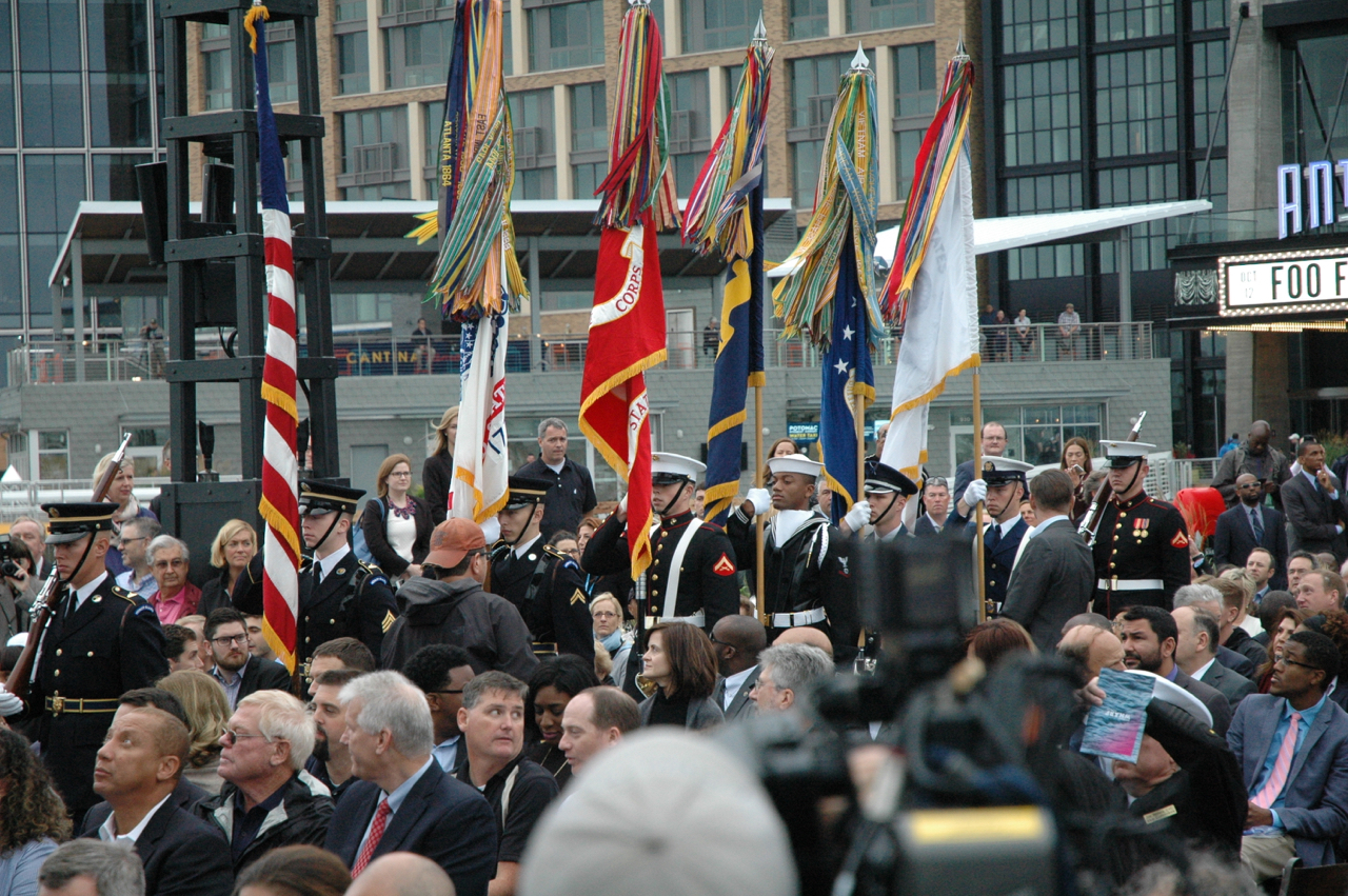 The Armed Forces Color Guard process for the National Anthem