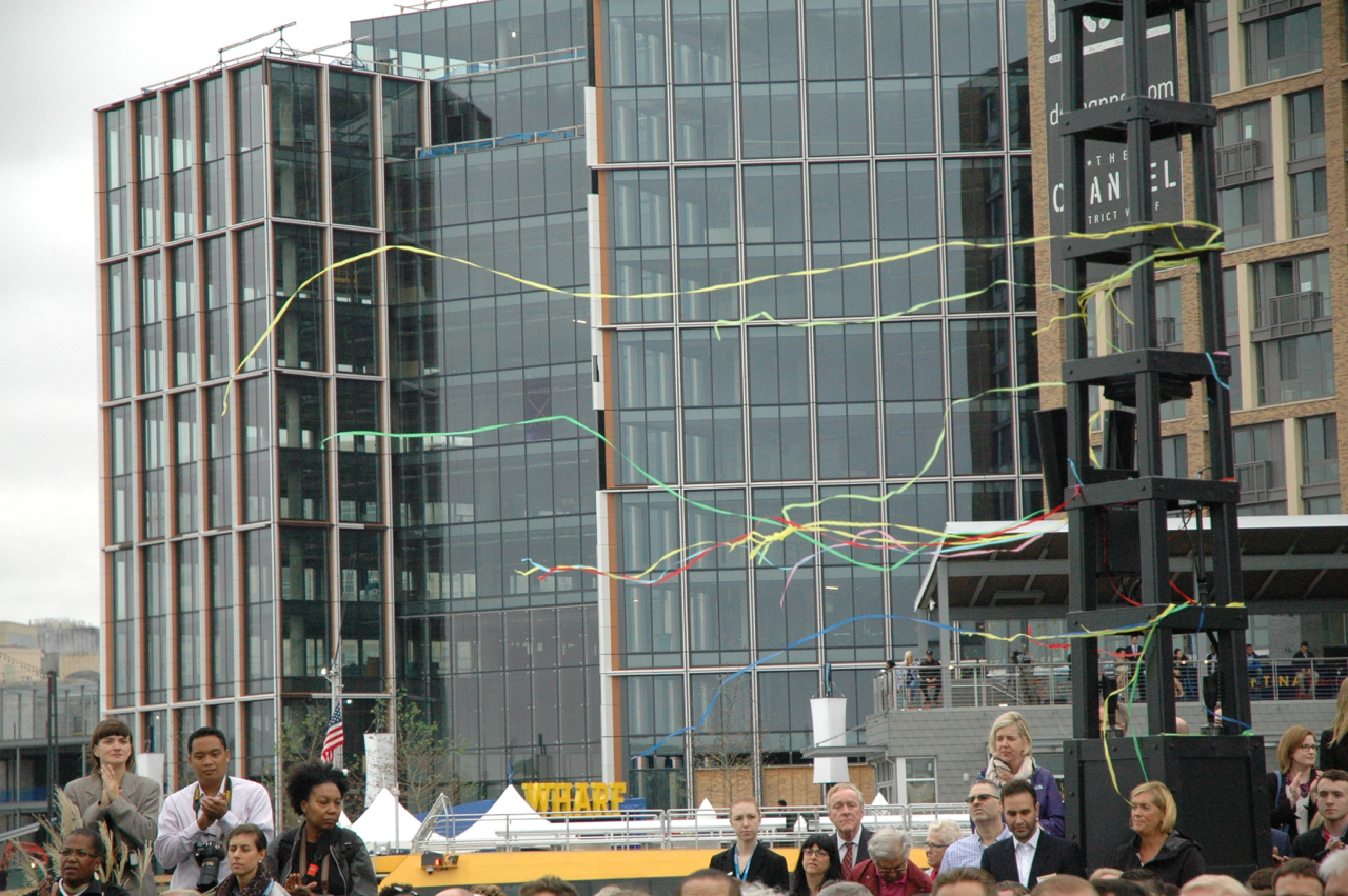 Streamers fly from the sound and lighting apparatus