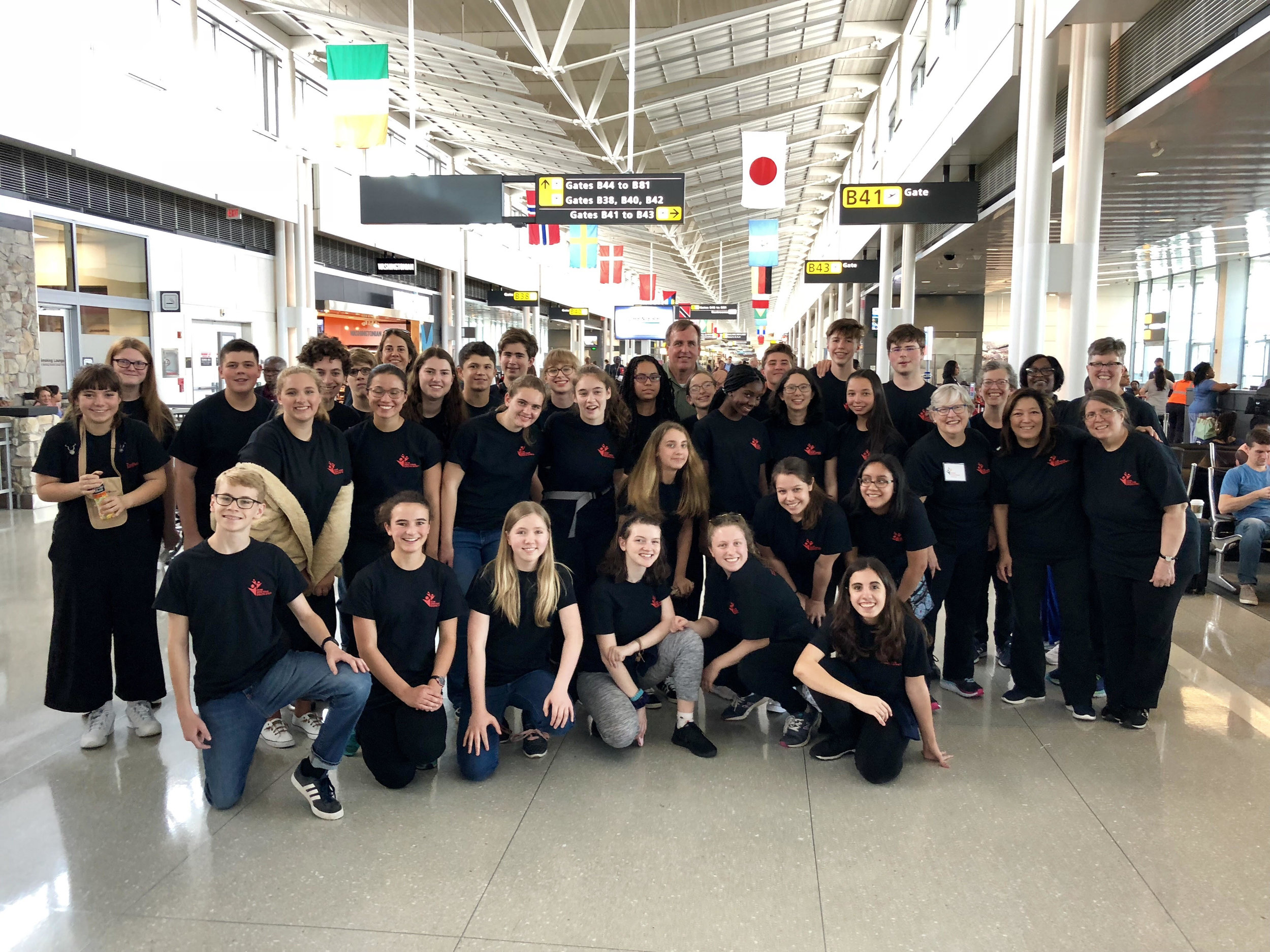 Students at Dulles airport prior to their departure on Friday, June 29. Photo: Scott Clark