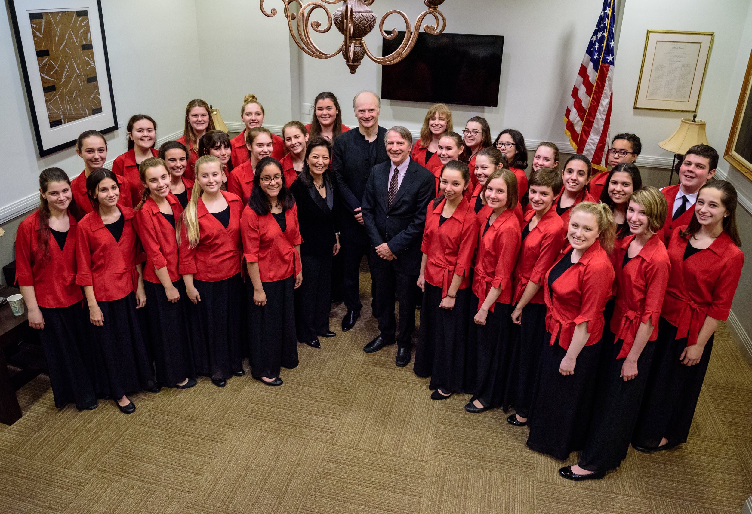 Margaret Nomura Clark with members of Concert Chorus at The Kennedy Center with Maestro Noseda of National Symphony Orchestra and Scott Tucker of The Choral Arts Society of Washington after Saturday evening's performance. Photo: Scott Clark