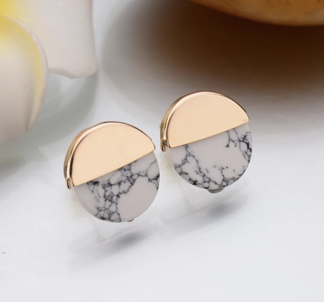 Marble & Gold Studs
