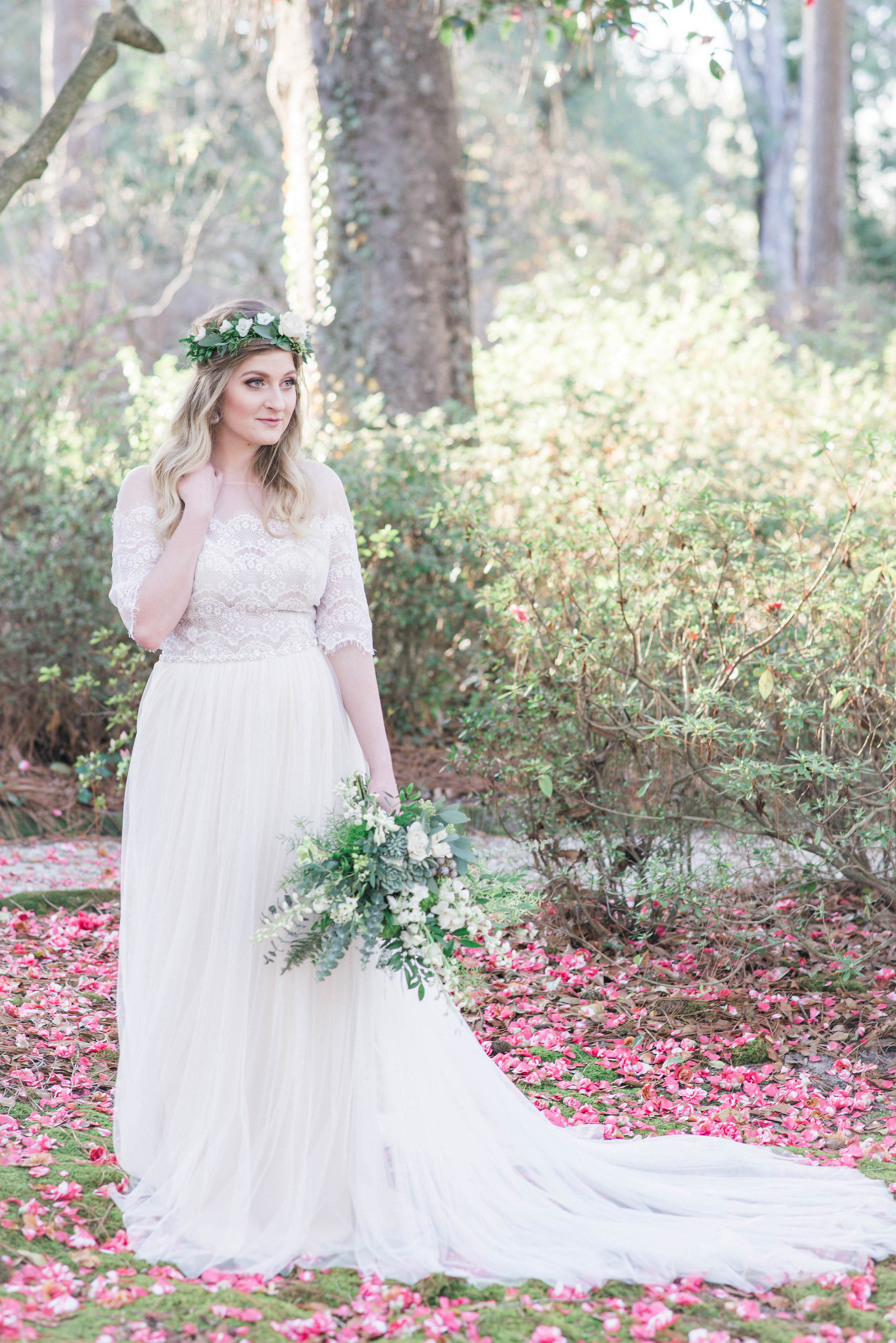 Bride with Bouquet in Forrest | Ademurelife Fashion Blog