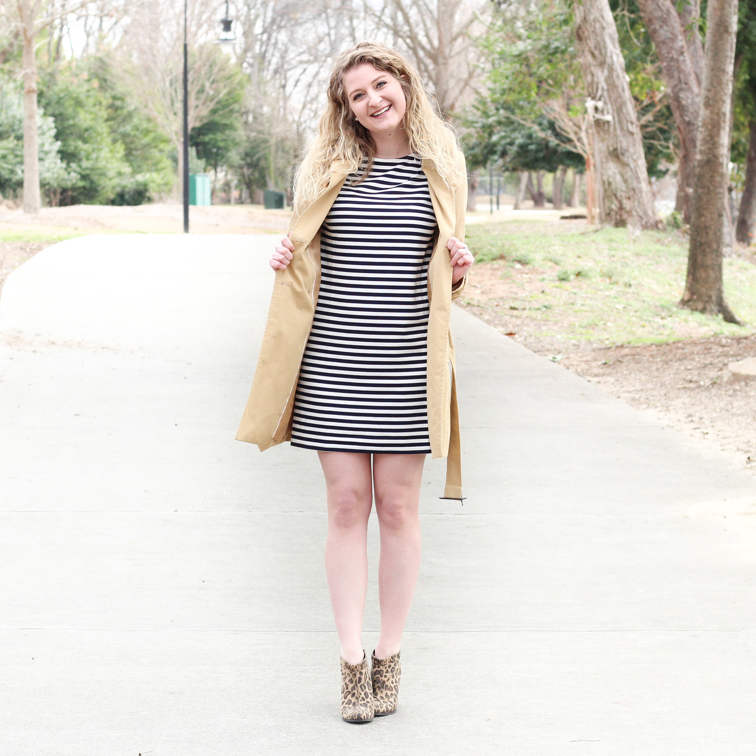 Stripped Dress with Yellow Rain Jacket