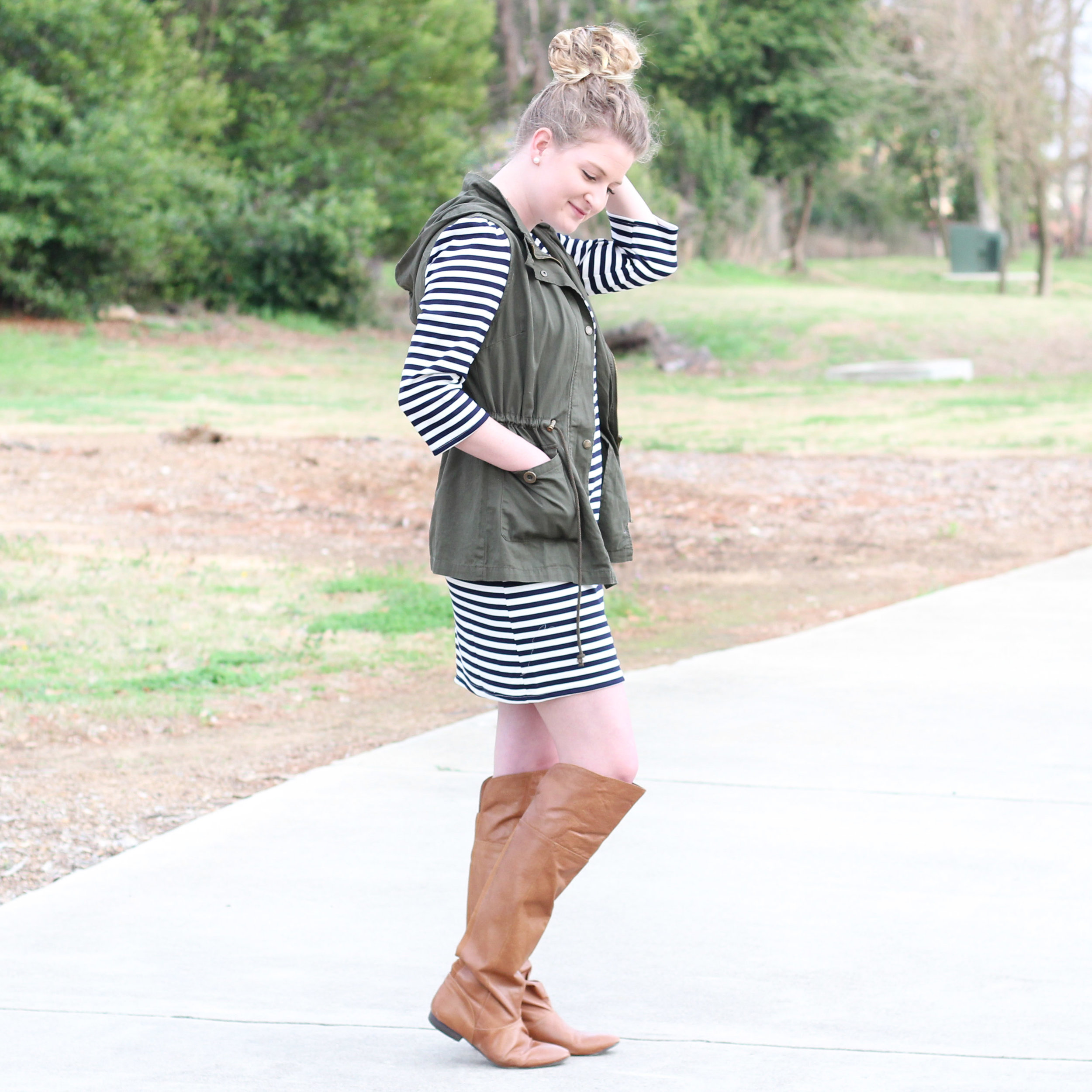 Stripped Dress with Vest | Demure Fashion Blog
