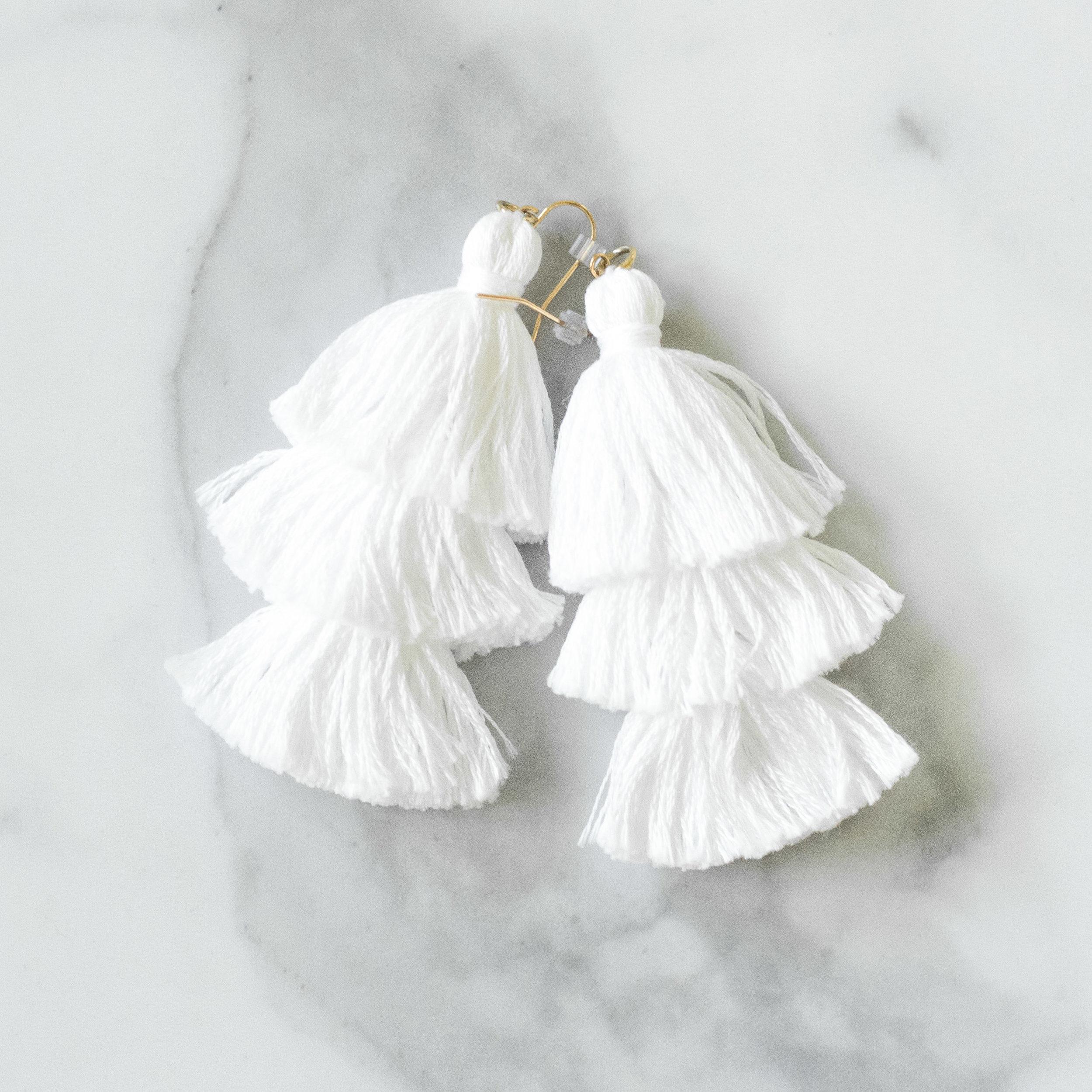 White Handmade Tassel Earrings | Demure Fashion Blog