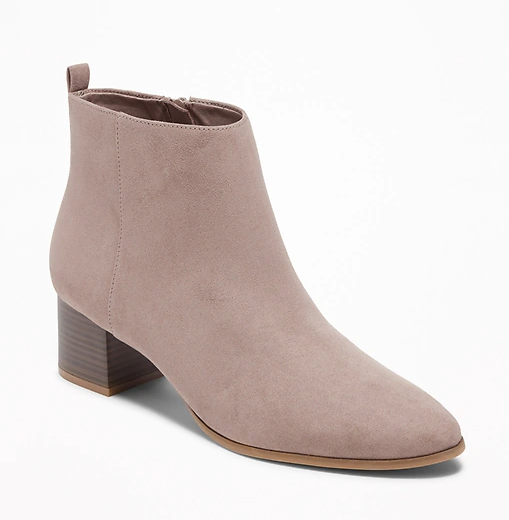 Gray Booties - These booties may be the most perfect ones I've ever owned. The toe is the perfect amount of pointy, the ankle is the perfect height, the heel is the perfect thickness, and the color is the perfect gray! They don't come in half sizes, so I sized up to the 8, from my usual 7.5. The fit is just a little loose, but its nice because I can slip them on and off without having to unzip them!! They come in 2 other colors and I've purchased them all, LOL! At the outstanding price of only $36, there's no reason not to buy them!! P.S. No blisters after wearing them for 8+ hours on the first day I got them!!