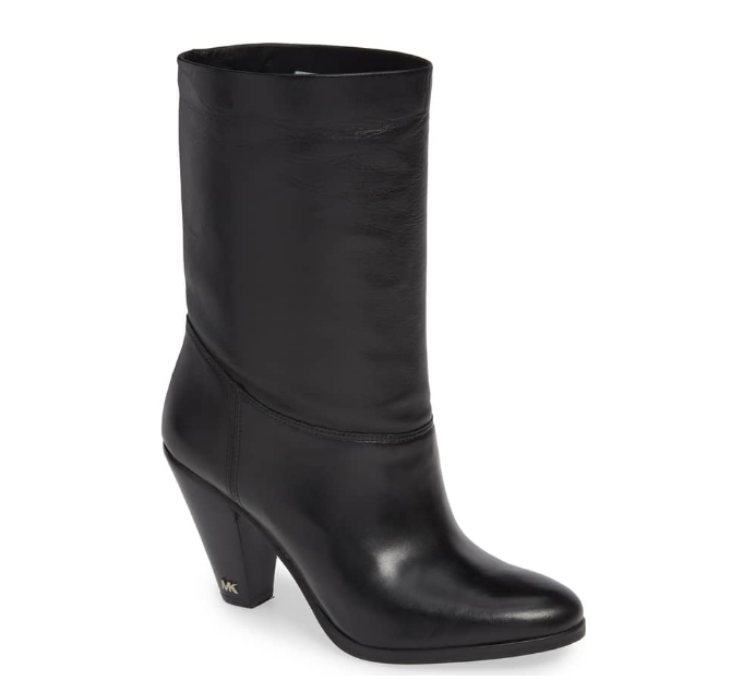 """Mid-calf Booties - These mid-calf booties have been so fun to wear! I feel like that make my calves look so skinny, LOL, since the shafts are wider than most. The heels aren't too high, so they're good for all day wear! However, I must point out the discrepancy in sizing. I usually wear a 7.5, but I purchased an 8 in these. Even at a size 8, I can only wear very thin socks, and it still took 3 wears to stretch the leather enough to actually be comfortable in the width. If you would consider yourself to have """"wide"""" feet, then these booties are definitely not for you! But, if you don't have shoe width issues, these booties are amazing! And SUCH a good price point for Michael Kors shoes!!"""