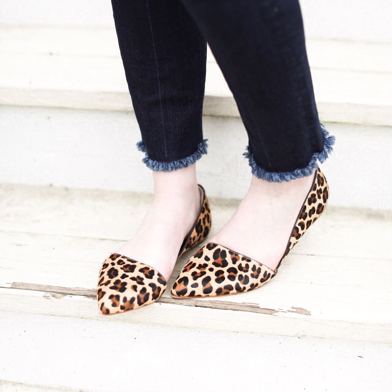 Leopard Flats - I've been searching for the best leopard flats that I could find for about a month now… Each one I came across was too expensive, not my style, not quality enough, or even a strange color… But then, I came across these!! You all know I'm a little J Crew obsessed, so no surprise here that these came from the Factory! Their quality is fantastic, and the price isn't bad either!! The color is perfect, and they are a perfectly classy design! And trust me when I say that these are the best combo of all my requirements that I've found thus far!! However, we gotta talk about J Crew shoe sizing…. J Crew shoes are a bit narrow, so PLEASE NOTE - I always size UP to an 8 (from 7.5) for the width, and then add heel cushions in the heels so they don't slip! And, in my opinion, heel cushions always make shoes comfier anyway ;) I've linked my absolute favy heel cushions HERE! You will love these shoes, I promise!!