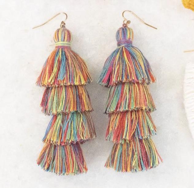 Rainbow Tassel Earrings | A Demure Life