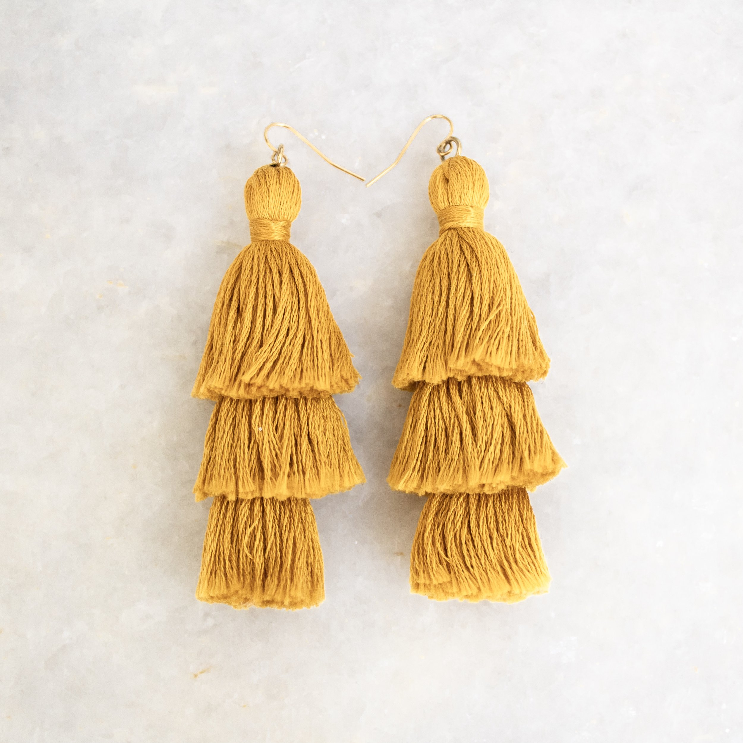 Mustard Tassel Earrings | A Demure Life