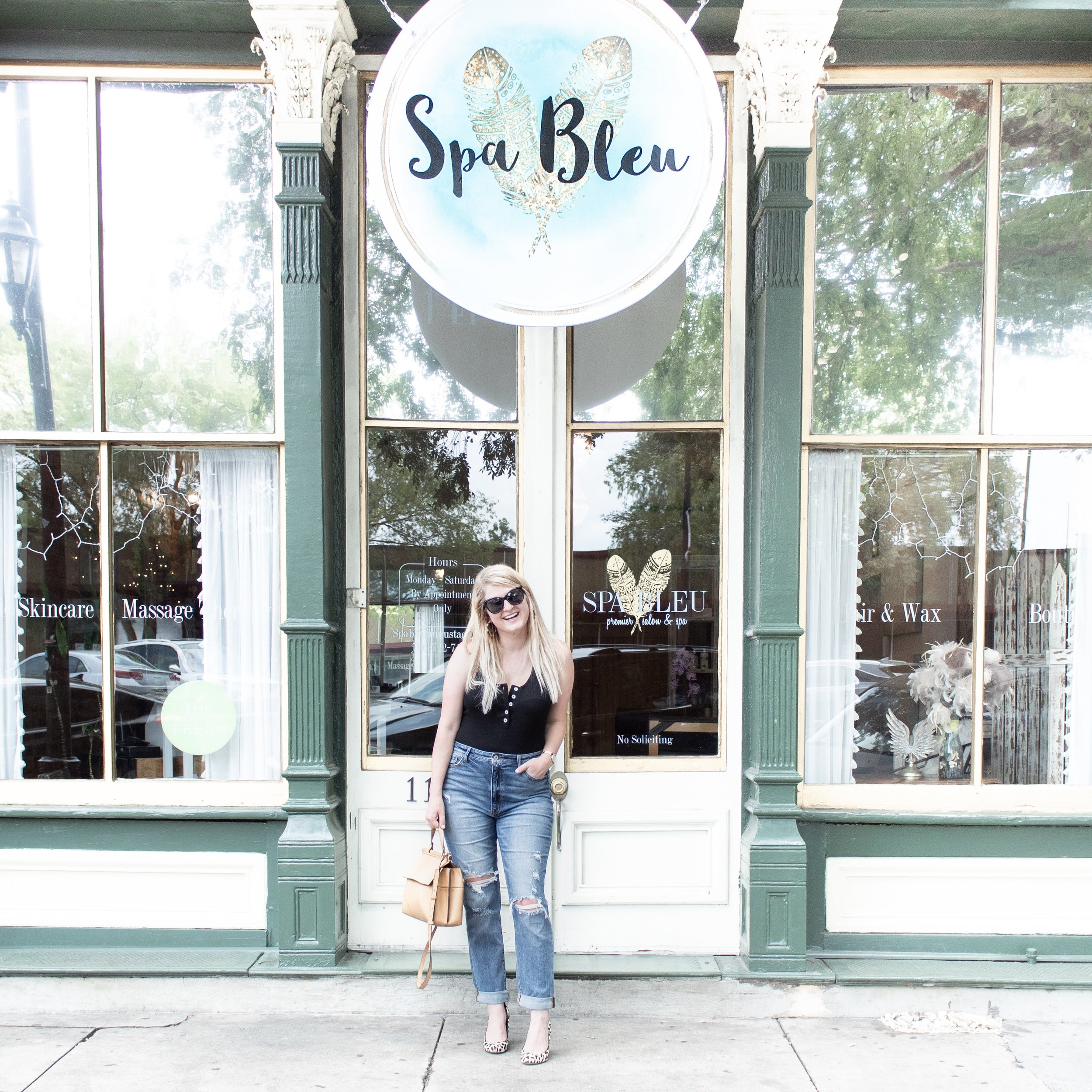 Spa Bleu  - I hadn't had a facial in 4 years when the sweet owner of Spa Bleu invited me in… By the end of our 2 hours, Mirenda had waxed and tinted my eyebrows, given me a facial including extractions, and sent me home with a new skin care routine to help with my super oily t-zone and zitty flare-ups!!  Her super sweet personality, combined with customer service like that, her spa will absolutely become my go-to ME-day spot!  Not to mention that the brow tint alone changed my entire outlook on how I felt about myself without makeup on… The semi-permanent color defined my face enough to give me the confidence to not always have to have some on!!