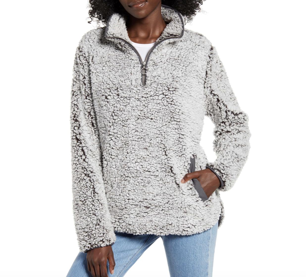 Gray Fleece Pullover | Nordstrom Anniversary Sale 2019 | A Demure Life Fashion Blog