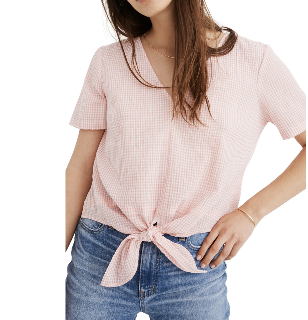Pink Gingham Tie-Front Top | Nordstrom Anniversary Sale 2019 | A Demure Life Fashion Blog