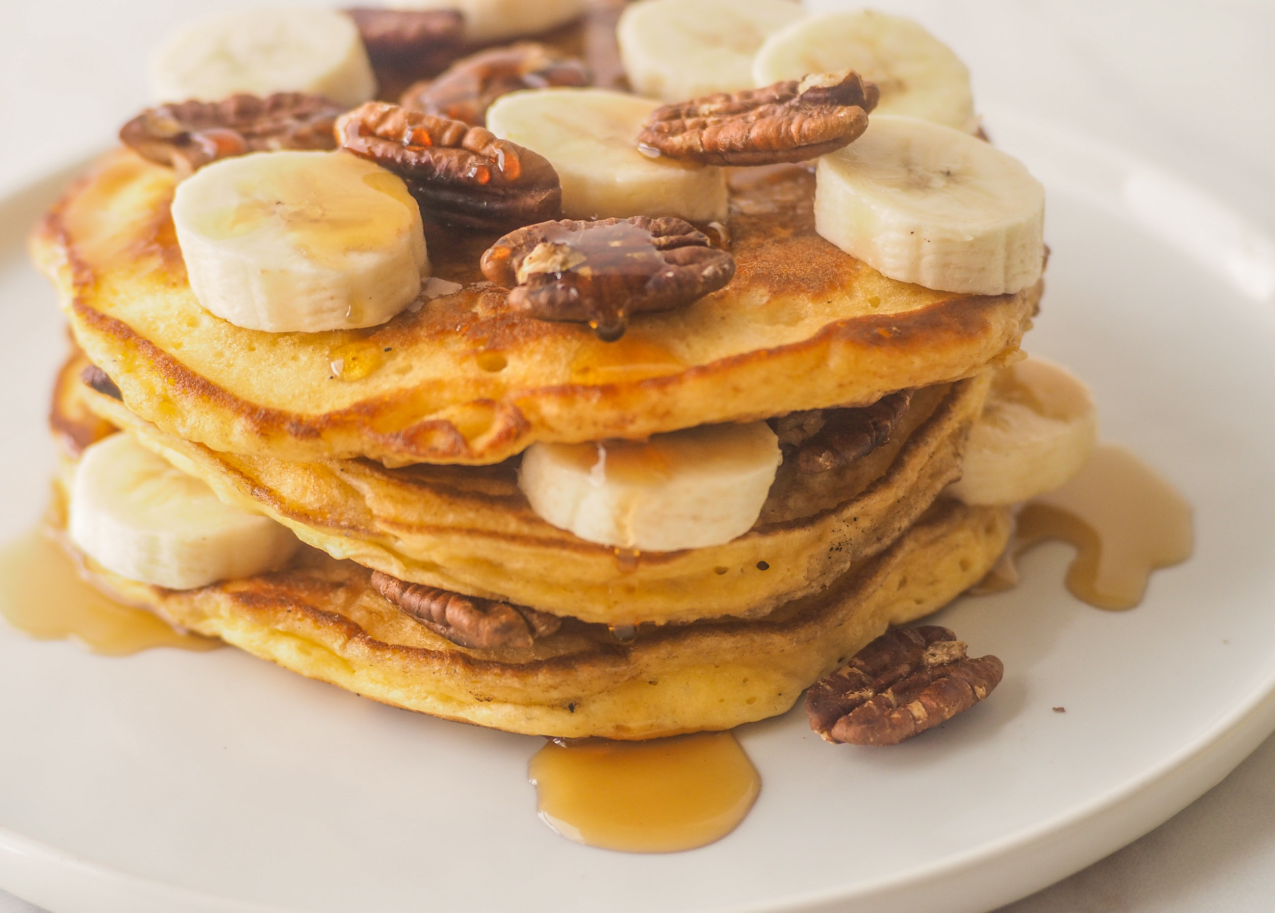 Sour Cream Banana Pecan Pancakes