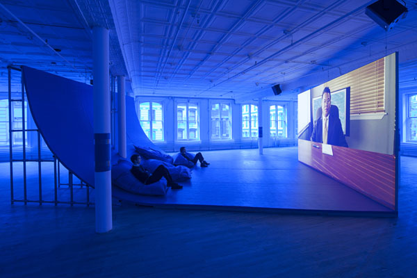 Hito Steyerl, Liquidity Inc. (2014), installation view from Artists Space in 2015.