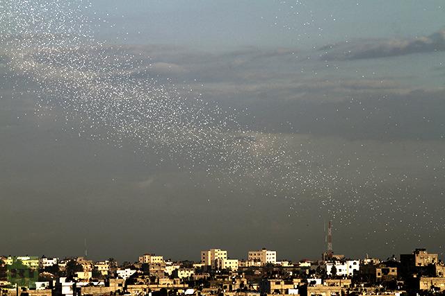 IDF leaflet dropping over Gaza.
