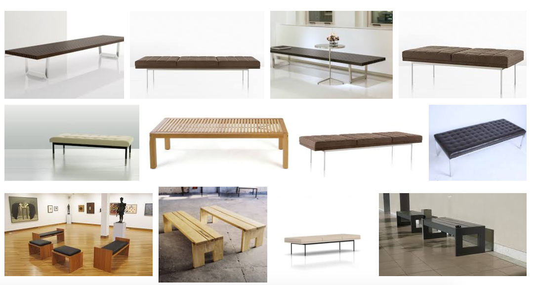 "Google's first twelve image results for ""museum benches""...hmm."