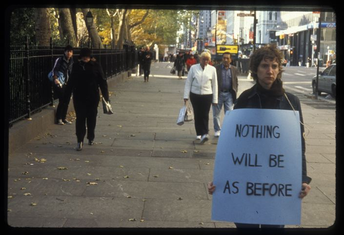 Sharon Hayes, In the Near Future, New York, 2005. Still from slide.