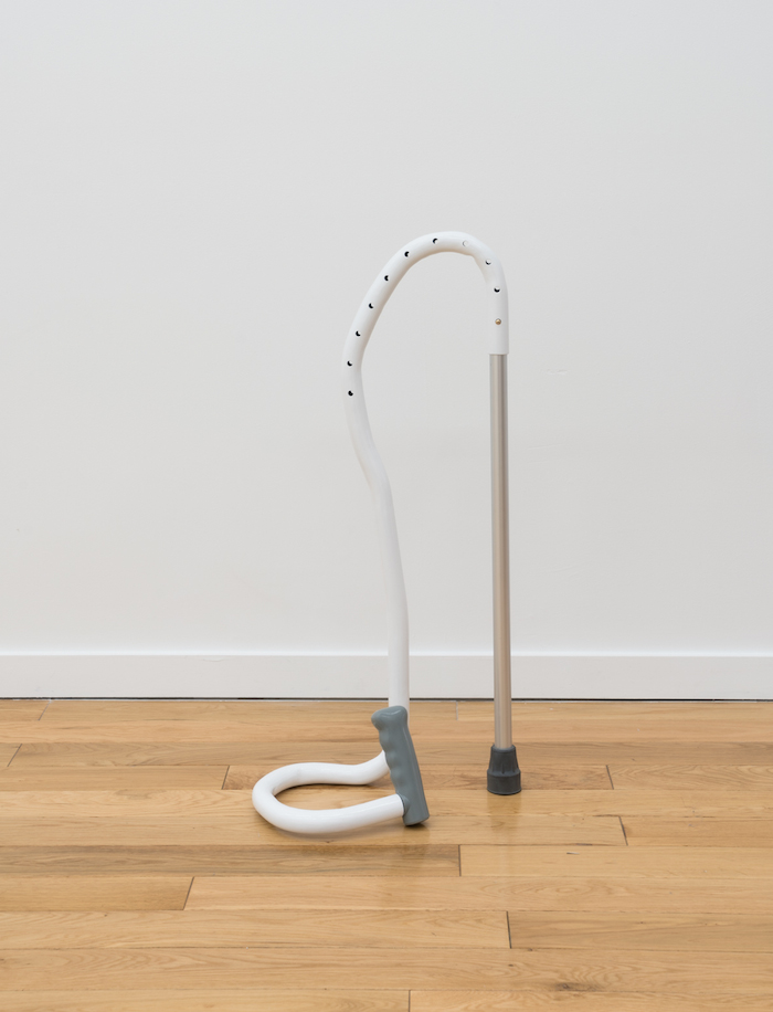 Jesse Darling, Collapsed Cane , 2017. Steel, aluminum, rubber, and lacquer.