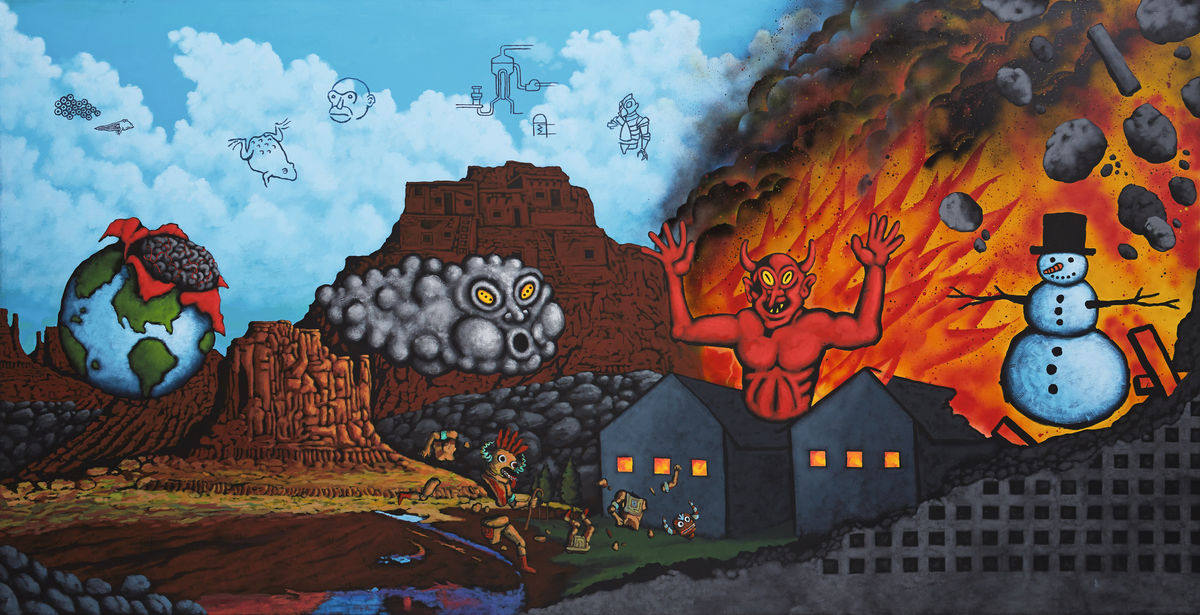David Wojnarowicz, Earth, Wind, Fire, and Water , 1986. Acrylic and spray paint on canvas, 200 x 400 cm. Private collection, image courtesy Daniel Buchholz and Christopher Müller, Cologne; photograph by Nick Ash.