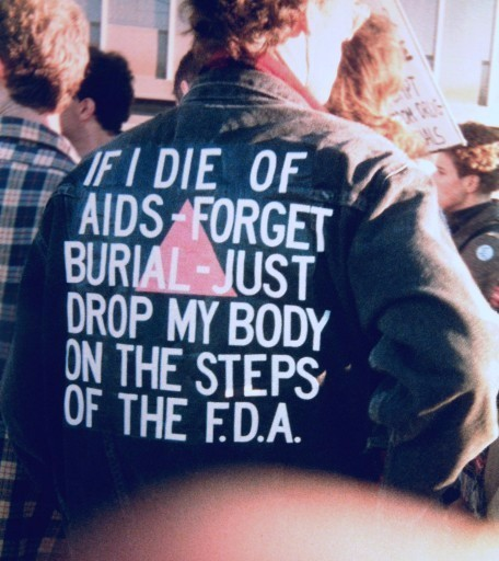 Wojnarowicz at ACT UP's FDA Action protest, October 11, 1988.  Photograph by Bill Dobbs .