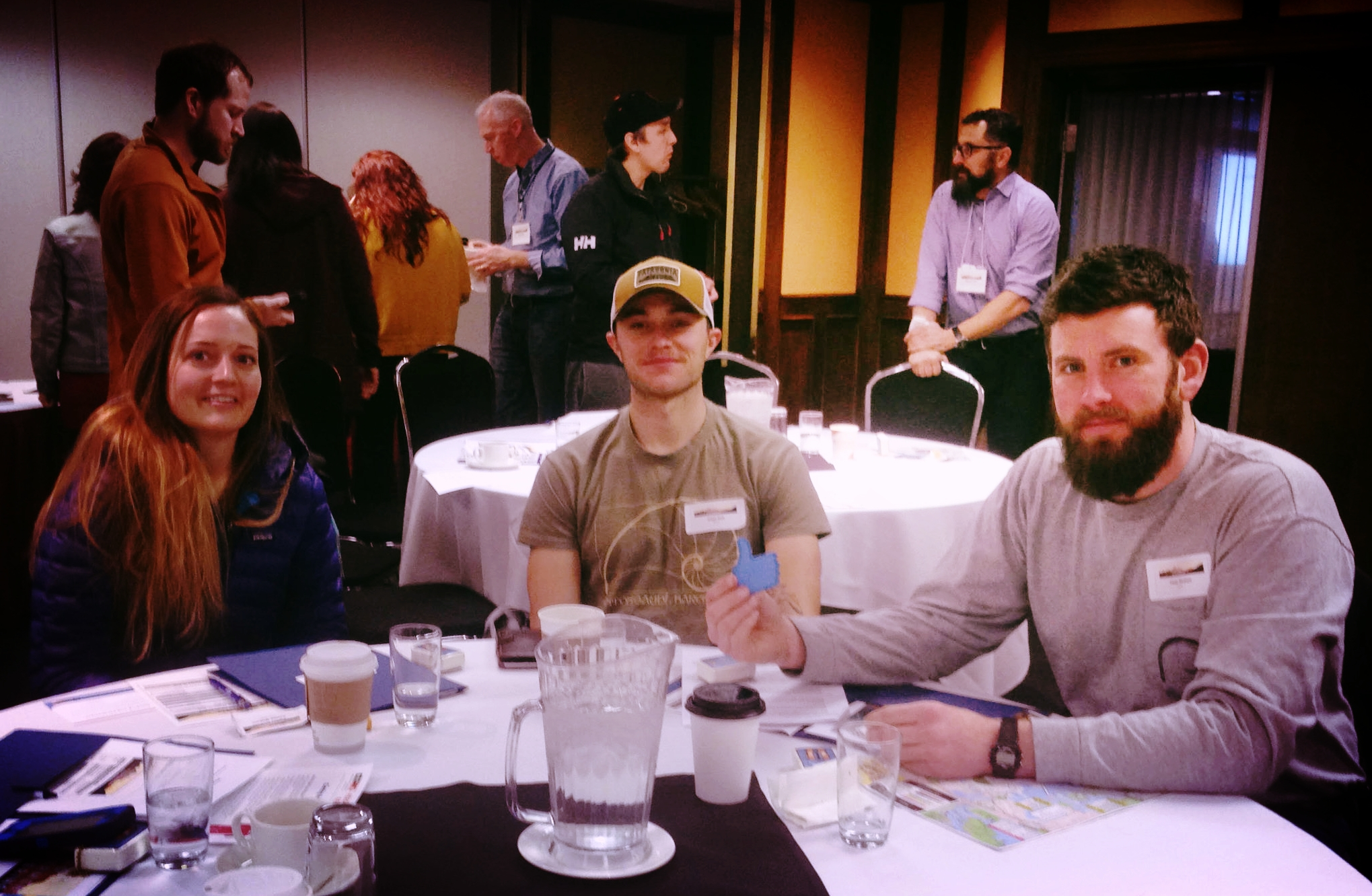 From left to right, Carina Nichols, Keith Bell and Peter Neaton. These Alaska fishermen spent 4 days in Victoria attending fish-focused meetings. The Alaska Young Fishermen's Network strives to create opportunities for young fishermen to network with fellow fishermen and fishery leaders, and be more engaged in the policy processes that shape their careers.