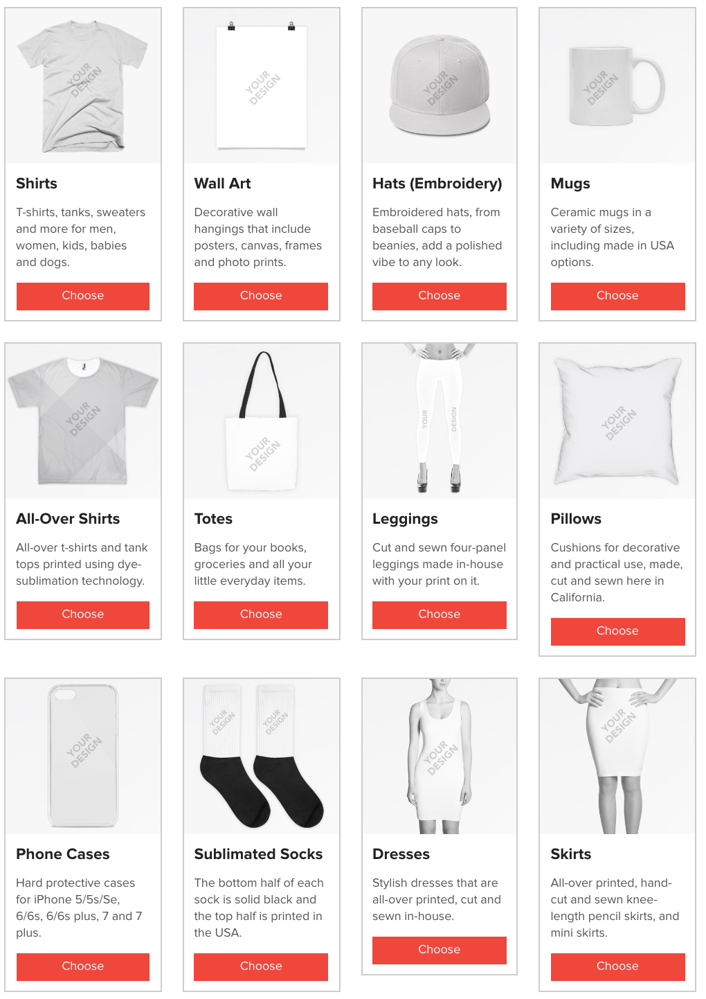 Products available for merchandise