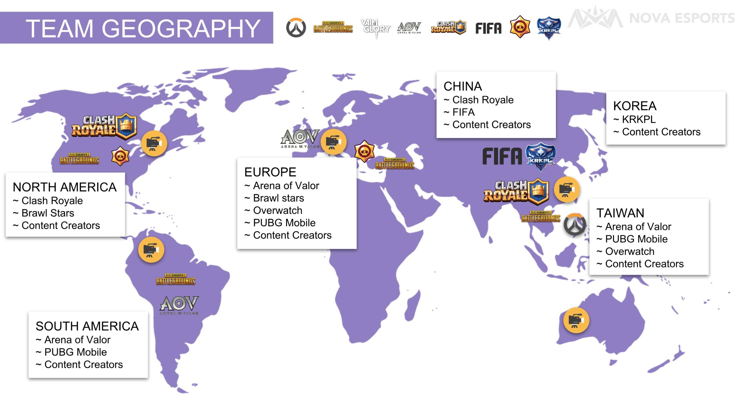 Nova Esports Team Geography