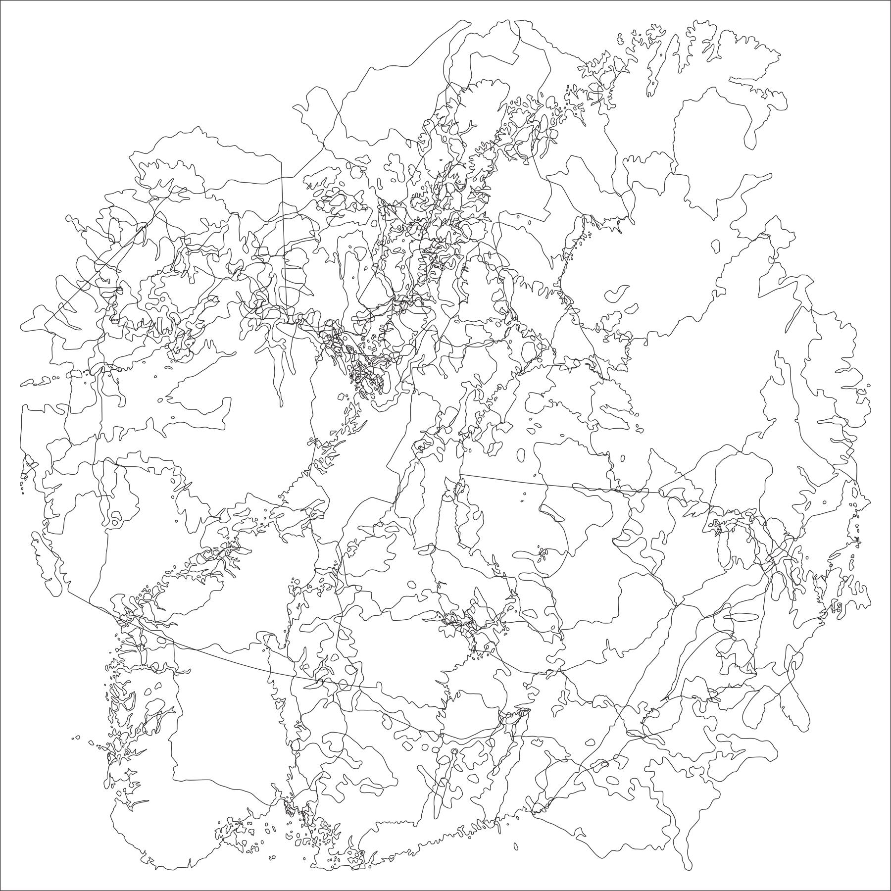 """Topography: Intergovernmental Organization: Arctic Council"" digital print 22""x22"" 2007"