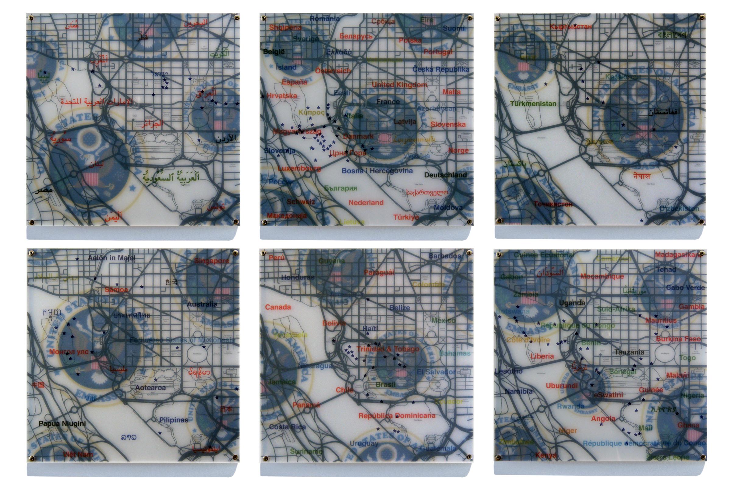 """United States Embassies"" digital print, plexiglas, acrylic, and panel 35""x55"" (15""x15"" each) 2008"