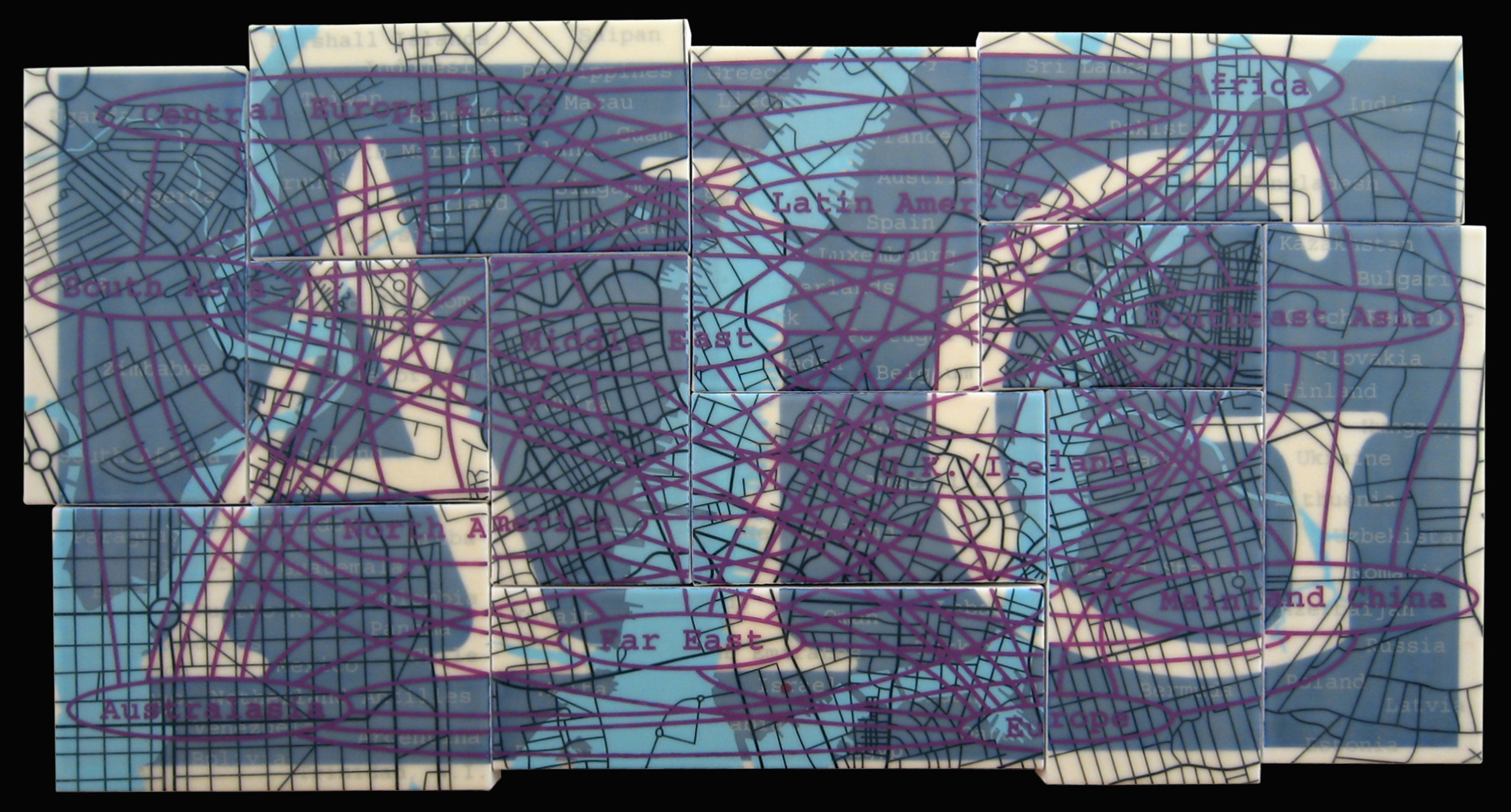 """AIG"" acrylic, screen print and glue on canvas 22""x43"" 2005"