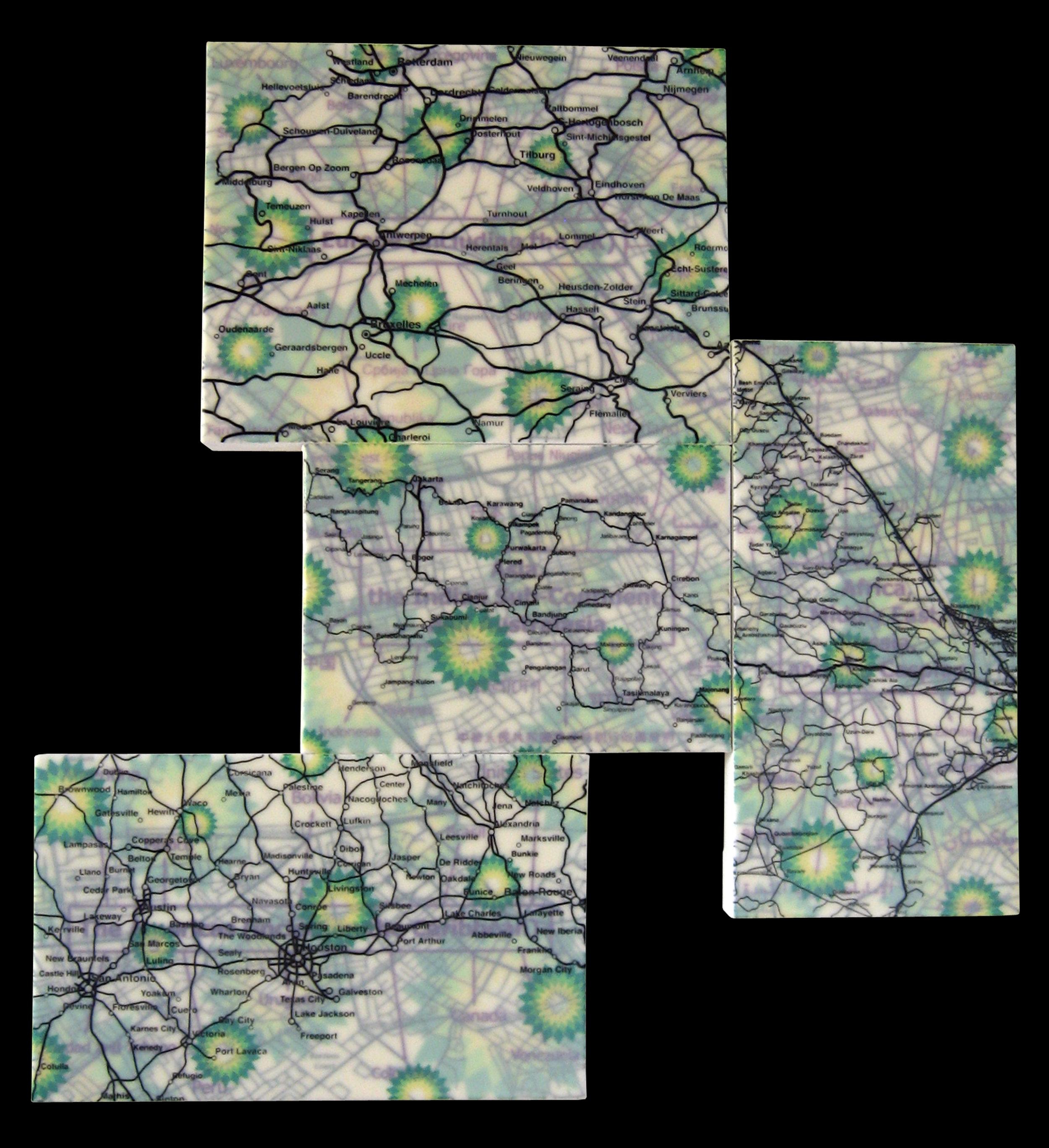 """BP"" acrylic, screen print and glue on canvas 31""x29"" 2006"