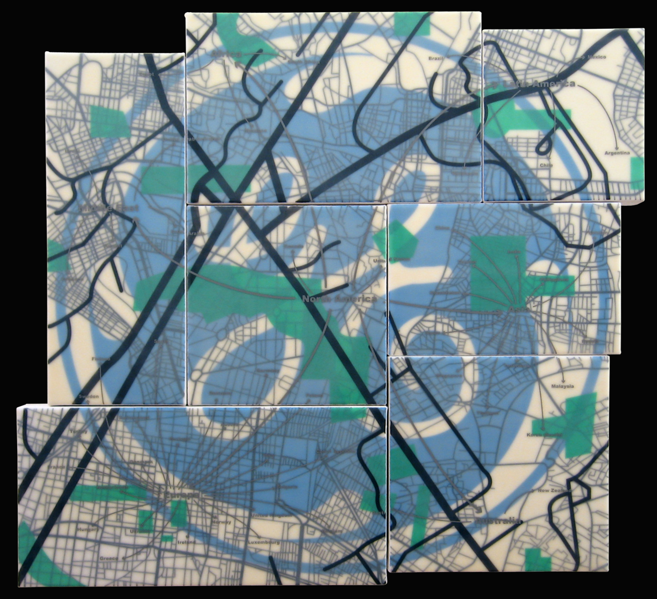 """""""General Electric"""" acrylic, screen print and glue on canvas 30""""x34"""" 2005"""