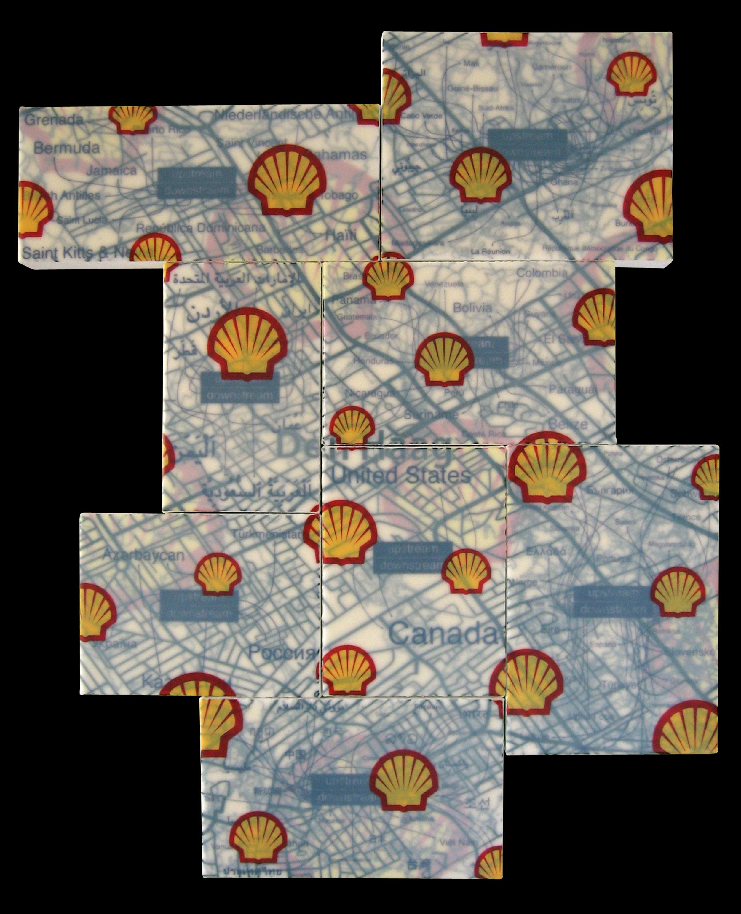 """Royal Dutch/Shell Group"" acrylic, screen print and glue on canvas 36""x24"" 2007"