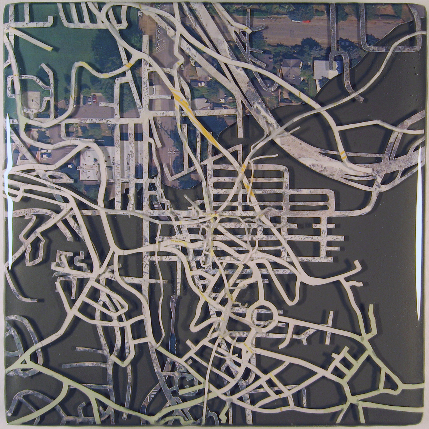 """Sister Cities: Issaquah, Chaouen, Sunndal""  acrylic, digital print, and resin on panel  7.5""x7.5""  2012"
